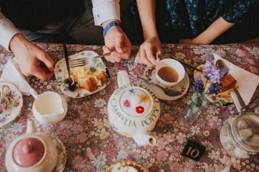 tea room engagement shoot