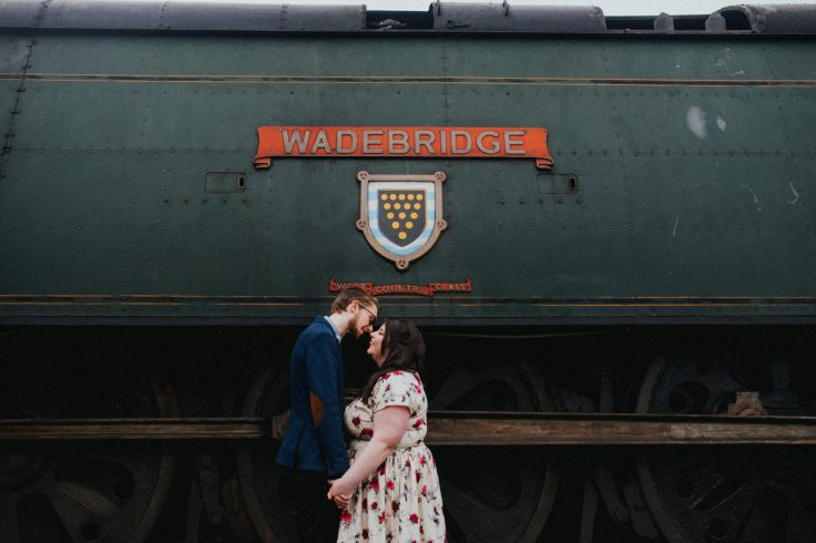 vintage engagement shoot watercress line by becky ryan photography