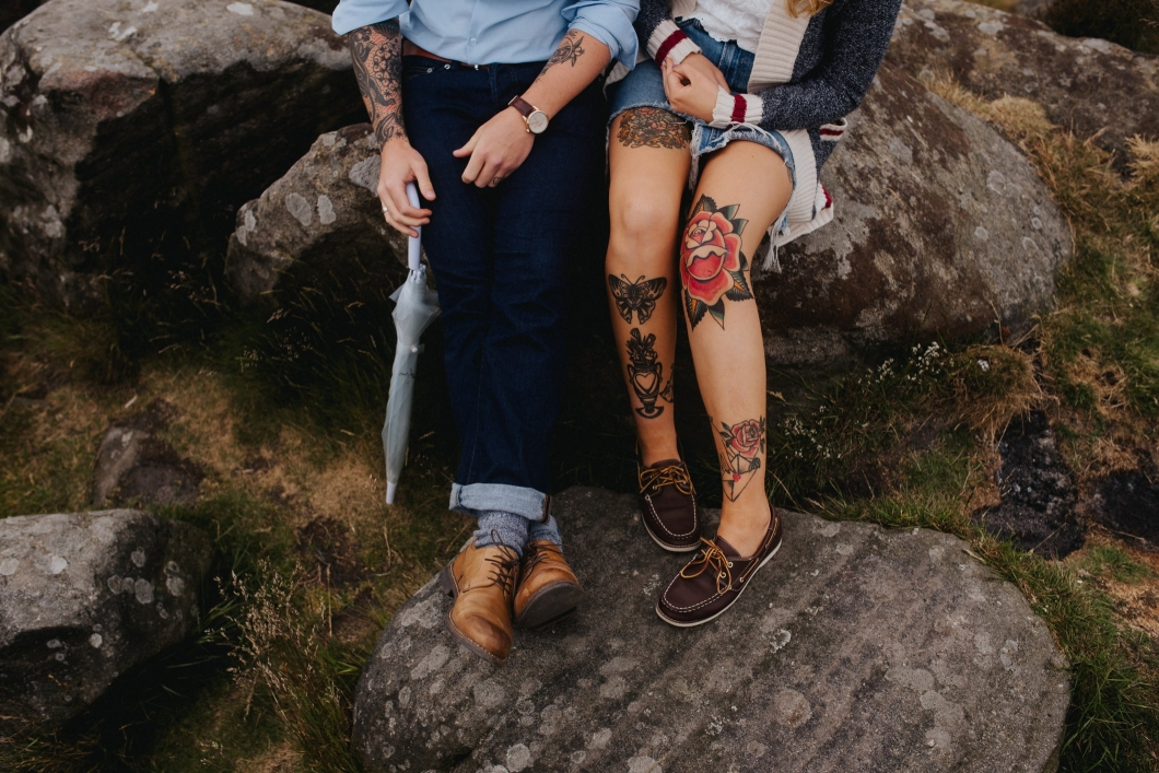 curbar edge peak district engagement shoot - becky ryan photography