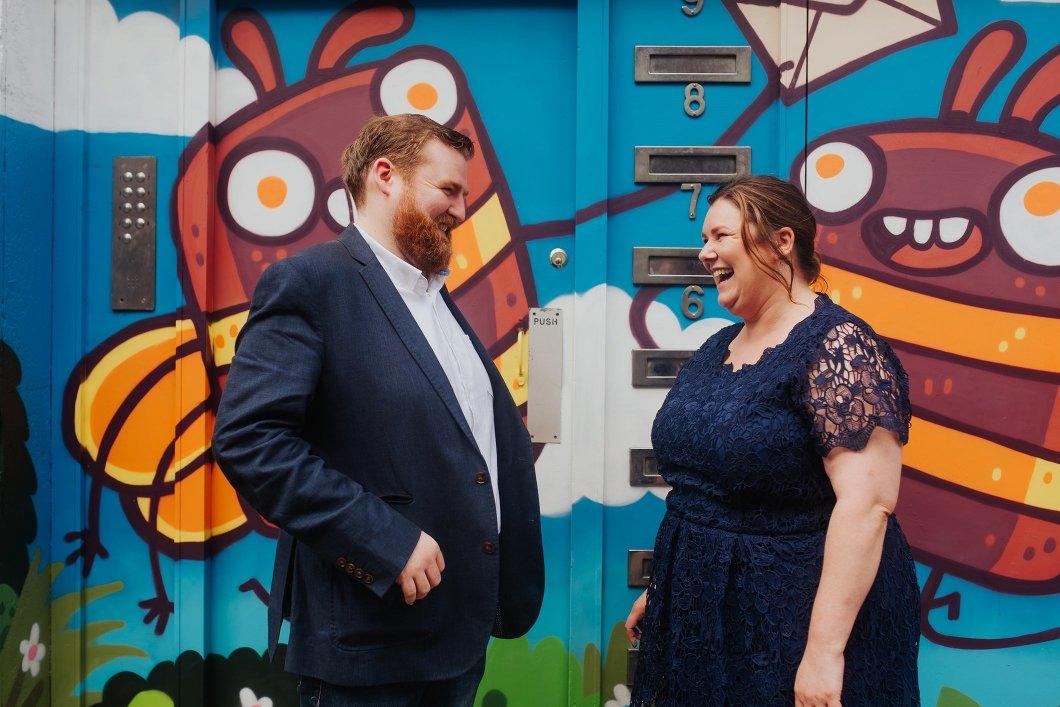 urban manchester bee street art engagement shoot
